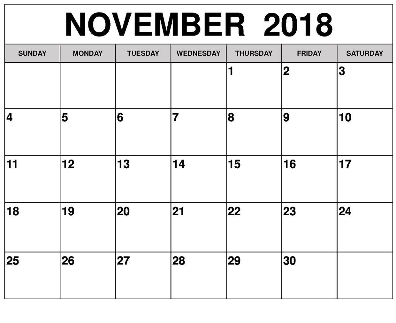 2018 November Diy Calendar Event Calendar November Events
