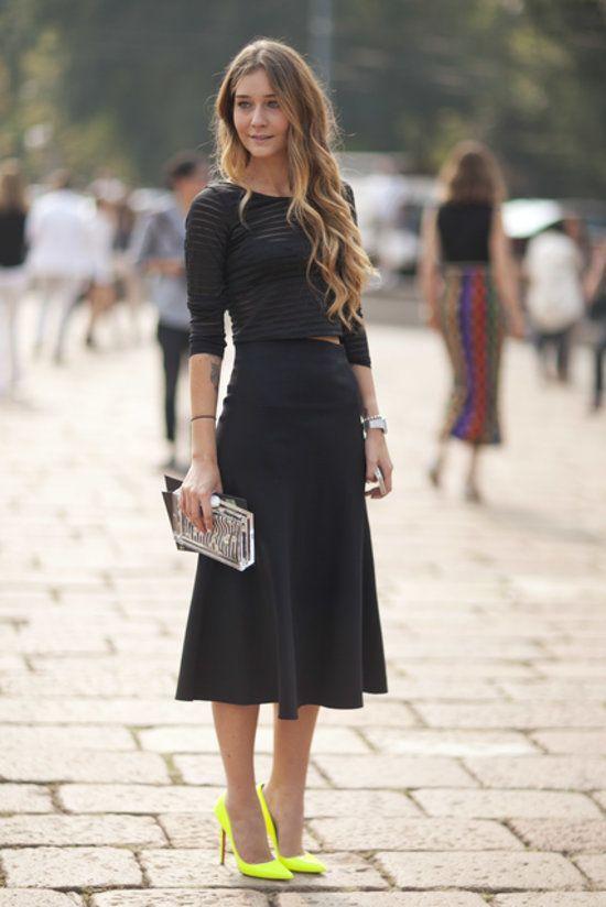 Neo yellow #Loubie pump with black dress