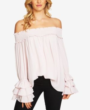 e5fcabfee CeCe Ruffled Off-The-Shoulder Top - Pink XL   Products   Blouse ...