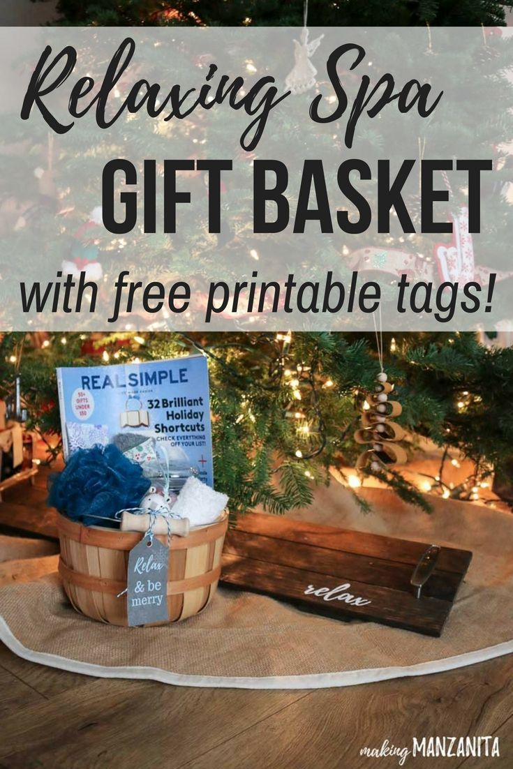 Relaxing bath gift basket with free printable tags relaxation learn how to make this diy relaxing spa gift basket with free printable gift tags for the holidays fun relaxing bath kit ideas unique christmas gifts negle Image collections