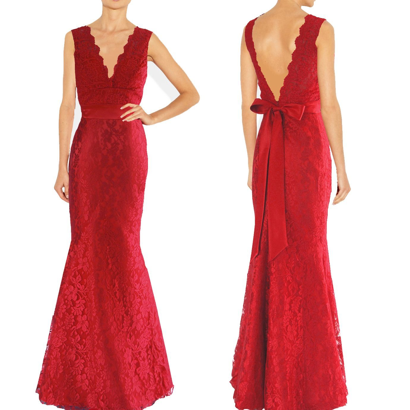 Dishy red v neckline lace full length formal dress 9007rd qpid elegant design v neckline lace dress lace has a beautiful scalloped design red lace over red satin a satin waist band with bowtie completes the look ombrellifo Image collections