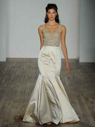 Champagne Wedding Dress With Trumpet Skirt And Embellished Bodice