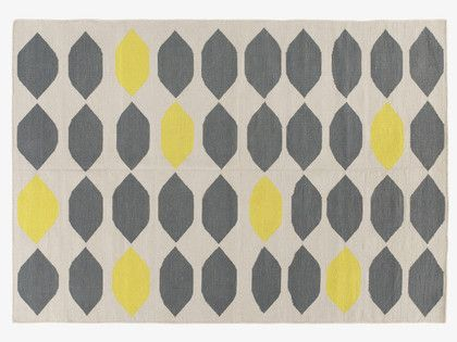 Trillo Medium Grey And Yellow Cotton Rug 140 X 200cm