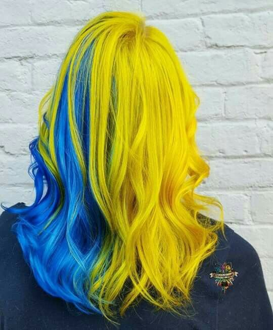 blue and yellow hair love