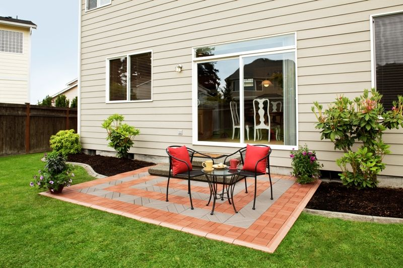 patio with interlocking deck tiles gray on grass - Google Search ...
