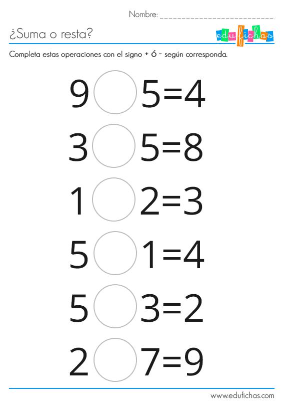 fichas de actividades sumas o restas | matematika 1.osztály ...