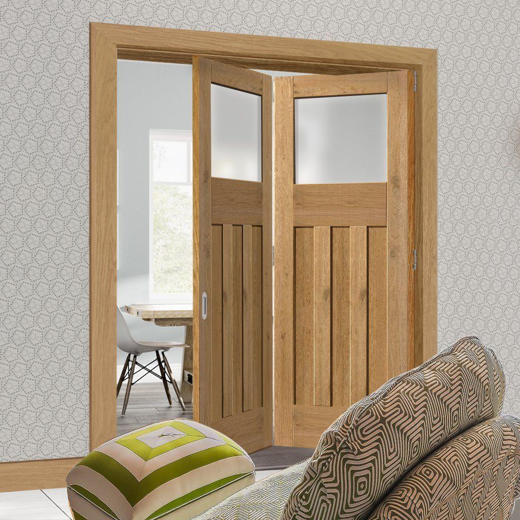 Two Folding Doors & Frame Kit Rustic Oak 1930 DX Shaker