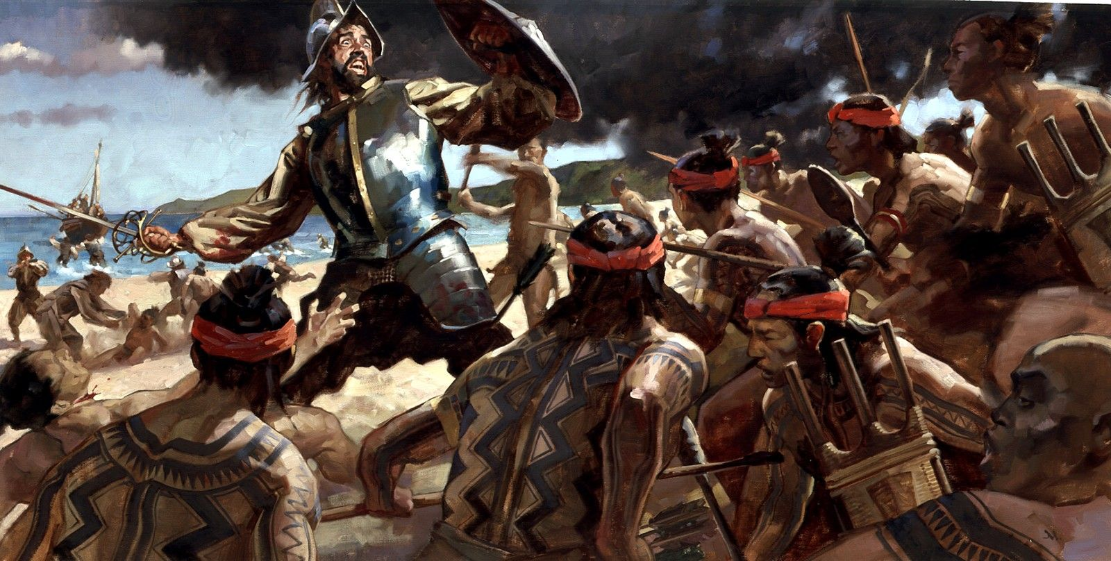 1521, Magellan's death in battle against the natives of the island of Mactan, Philippines - Greg Manchess