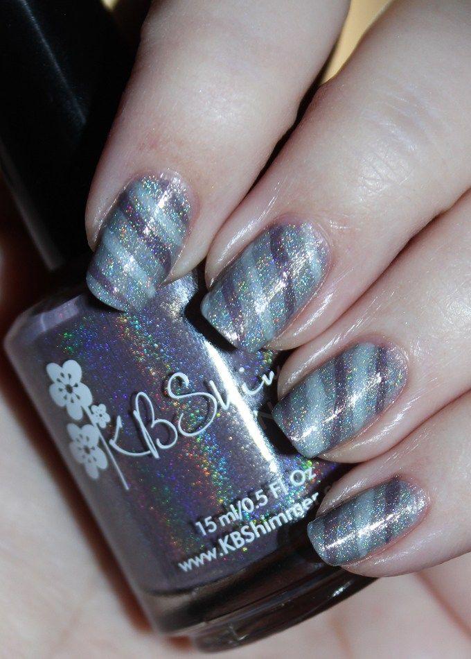 Demure Holo Neutral Stripe Nail Art   Neutral, Nail nail and Manicure