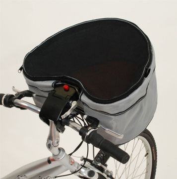 Small dog carrier for bicycle.