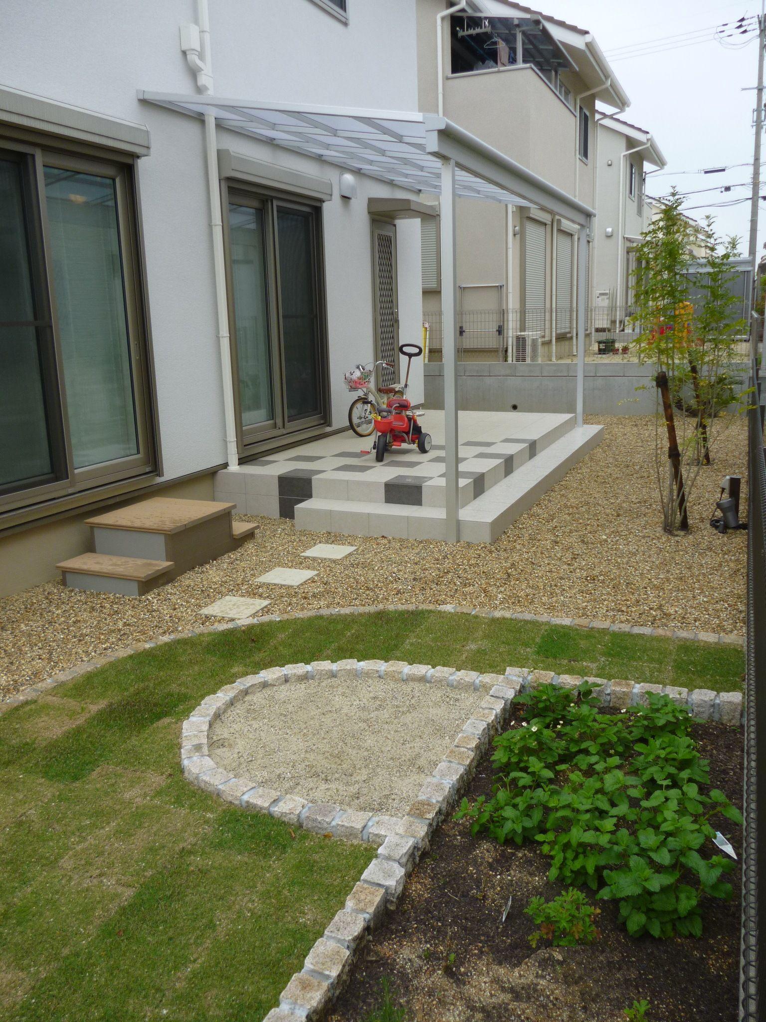 芝と砂場で遊べる庭 生駒市 奈良県 エクステリア 外構 新築外構
