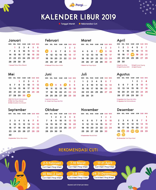 Kalender 2019 Indonesia Dan Rekomendasi Liburannya Kalender Buku Mewarnai Liburan