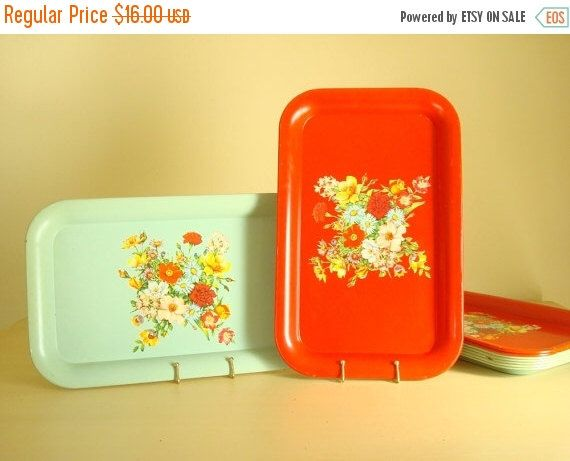 Vintage metal tray, aqua green or red, 1 tin litho stacking tray, like new flowered tray, mid-century kitschy cottage decor, summer bouquet by SunnyDayVintage on Etsy https://www.etsy.com/listing/252406063/vintage-metal-tray-aqua-green-or-red-1