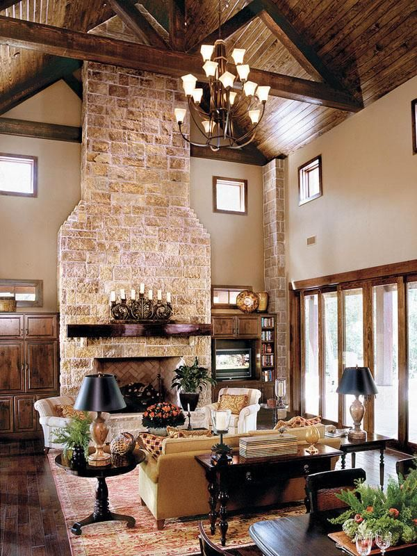Superb Family Room In Texas Hill Country Style Home... I Really Like This Decor