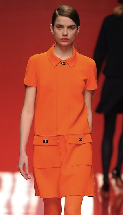 Such a colourful 60s shift from @JasperConran - tangerine! #lfw
