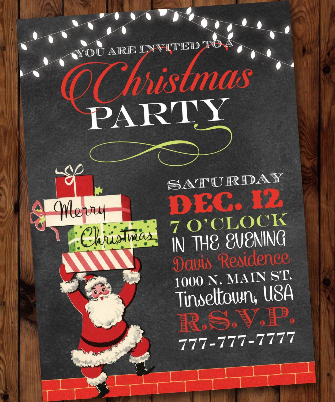 Retro Santa Christmas Party Invitation, Retro Christmas Invitation ...