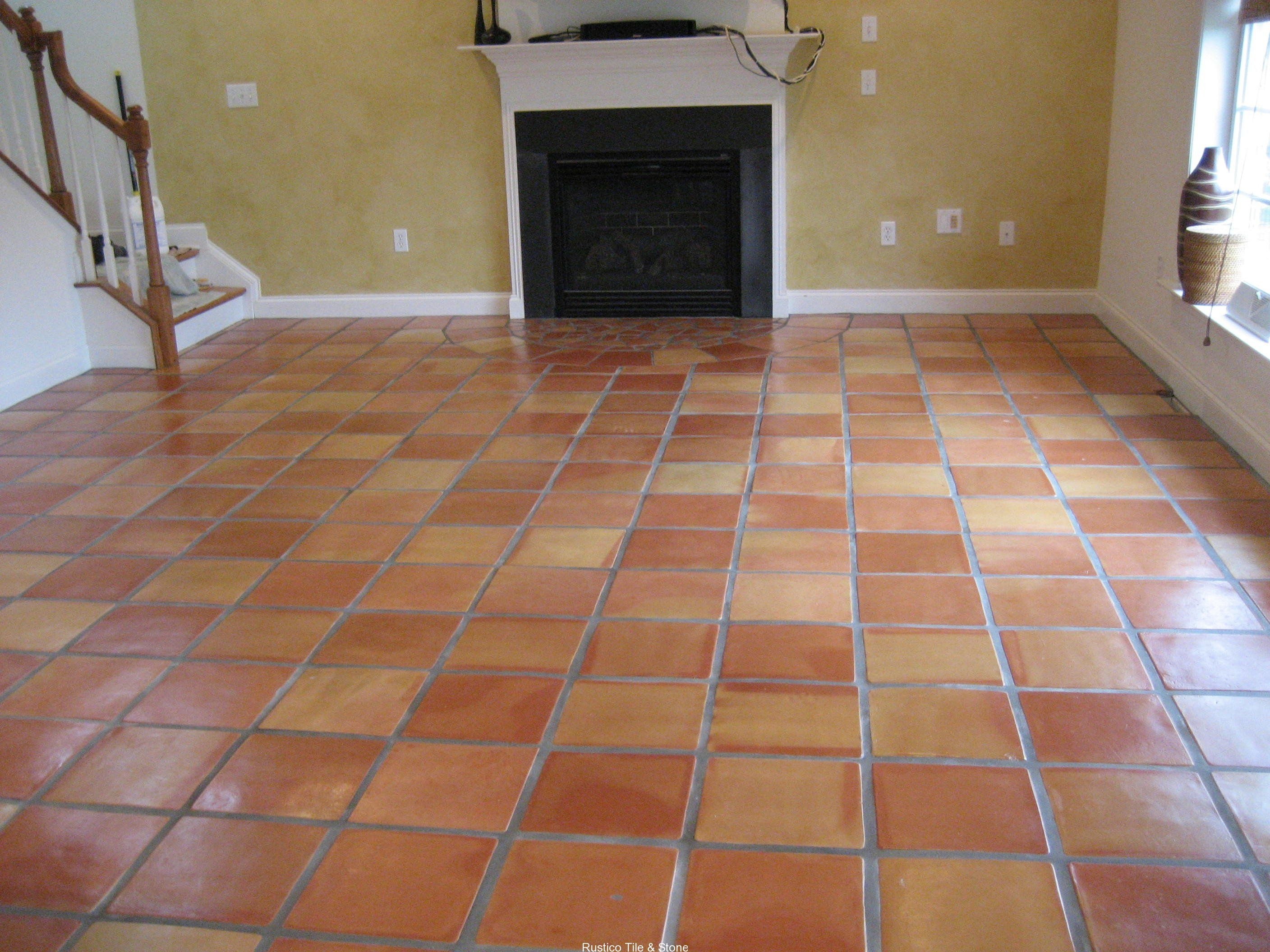 terra cotta tile with typical color variations. | terracotta floor