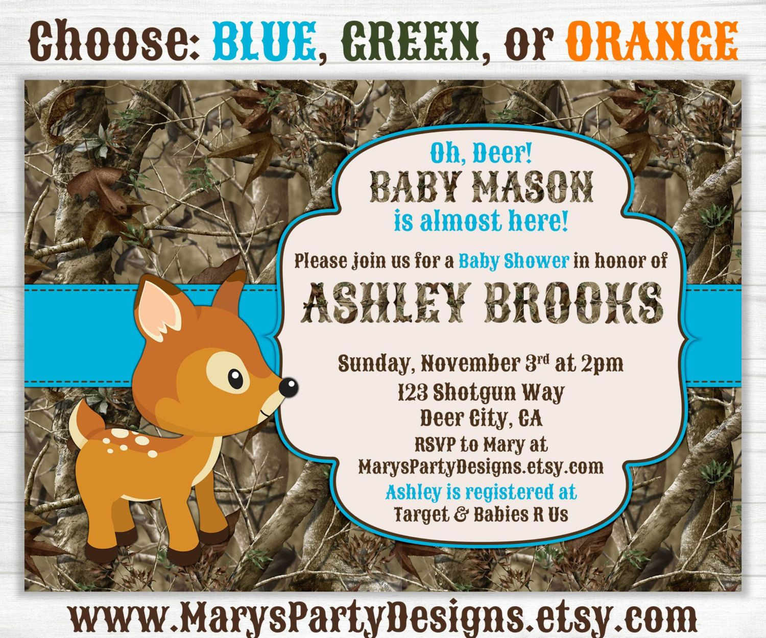 Camo Baby Boy Shower Invitation - Oh Deer Hunting Camouflage Diaper ...