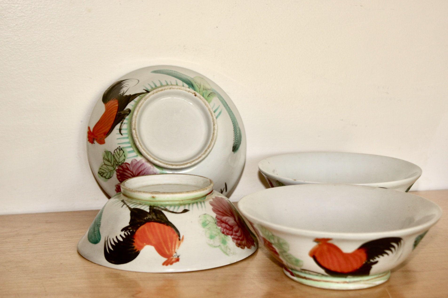 4 Old Chinese Rooster Bowls Vintage Porcelain For Serving Soup Rice Bowl Or Decor Vintage Porcelain Bowl Rooster