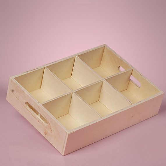 """NEW Large 6 Section Wood Tray Box with Handles Unfinished Pine Wood Glued Center Section Rectangular 14-5/8"""" x 7-1/4"""" x 2-3/8"""" deep."""