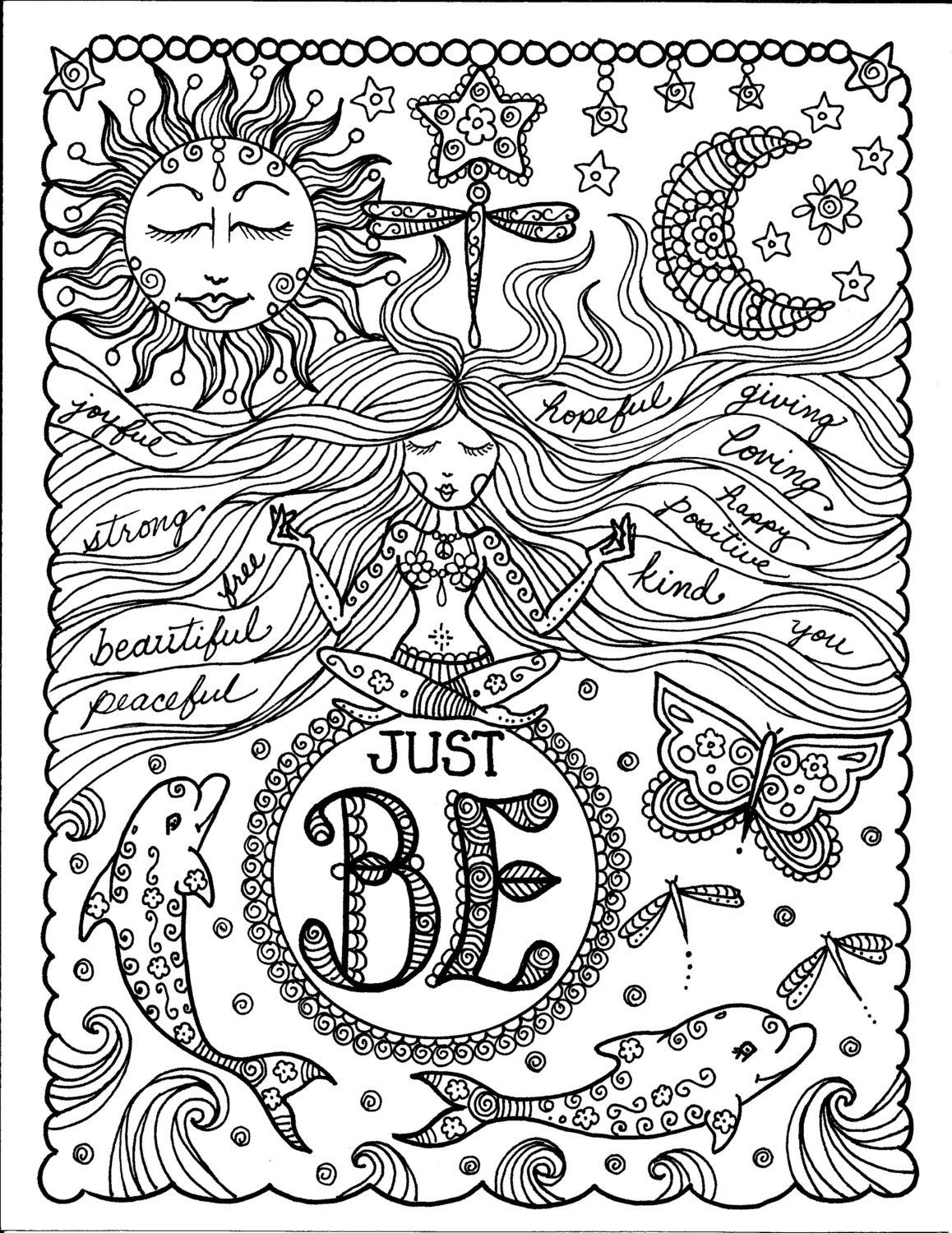 Coloring book inspirational - Instant Download Be Brave Coloring Book Inspirational Art For You To Color 5 Pages Of Fun