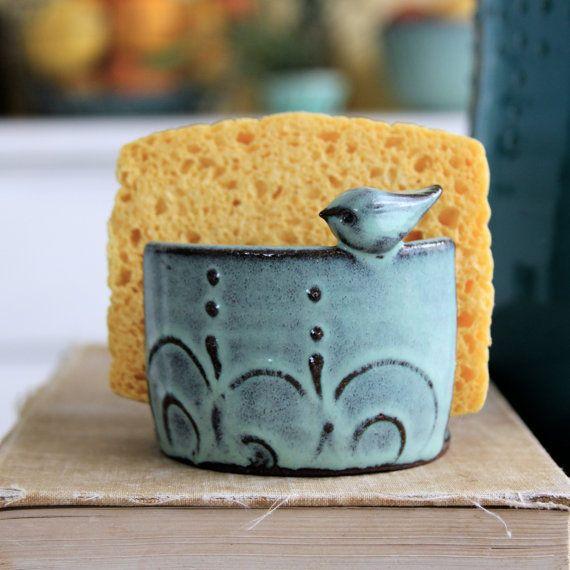 Sponge Holder With Bird Aqua Turquoise Mist French Country Etsy Sponge Holder Hand Built Pottery Kitchen Sponge Holder