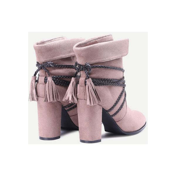 Brown Braided Strap Detail Fold Over Boots (305 DKK) Liked