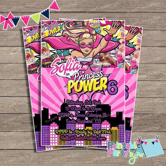 Barbie SuperHero Invitations Princess Power By PartyPrintablesFer