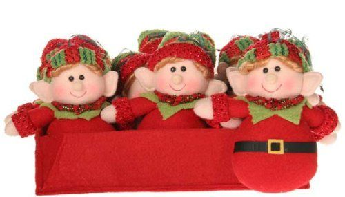 Club Pack of 12 Plush Red and Green Elves Christmas Figure Ornaments ...