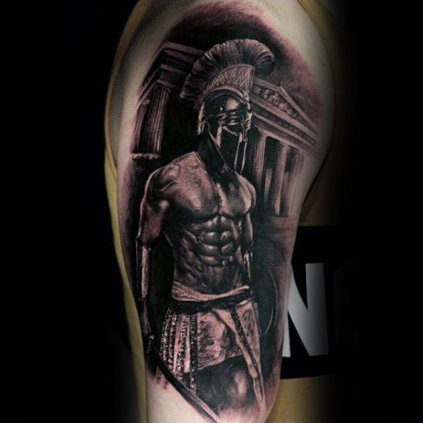 roman-warrior-spartan-black-ink-upper-arm-guys-tattoos.jpg (600×600)