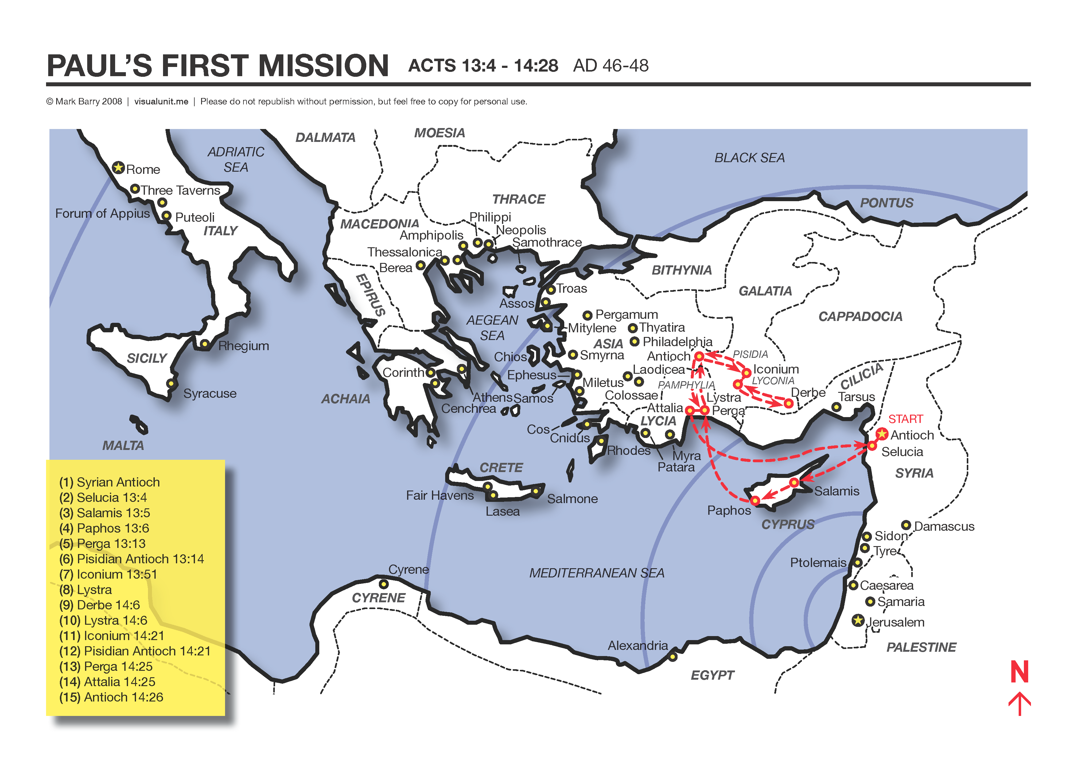 A Map Showing The Apostle Paul S First Missionary Journey