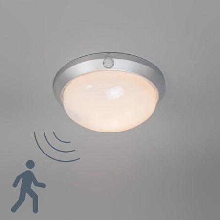 deckenleuchte motion i silbergrau mit bewegungsmelder safetylights bewegungsmelder lampen. Black Bedroom Furniture Sets. Home Design Ideas