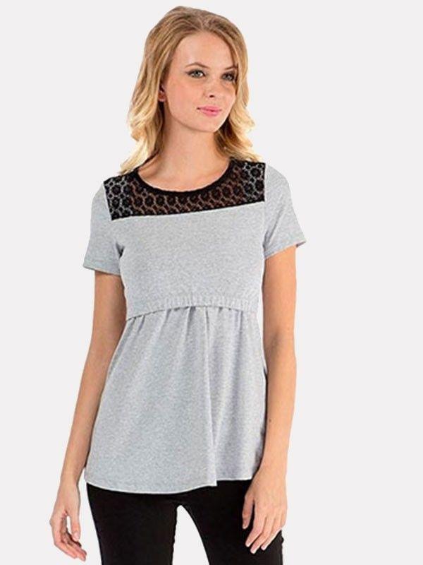 d6c8ab5f764c8 Dresswel Women Lace Round Neck Elastic Comfy Layered Maternity Nursing Tops  $8.99 #Dresswel #Women #Nursing