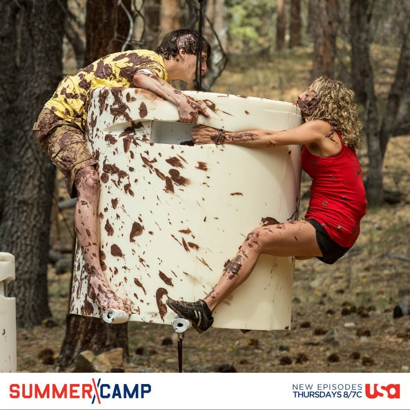 Our campers are getting down and dirty. Which camper looks like they'll bite it first, Chuck or Rachel?