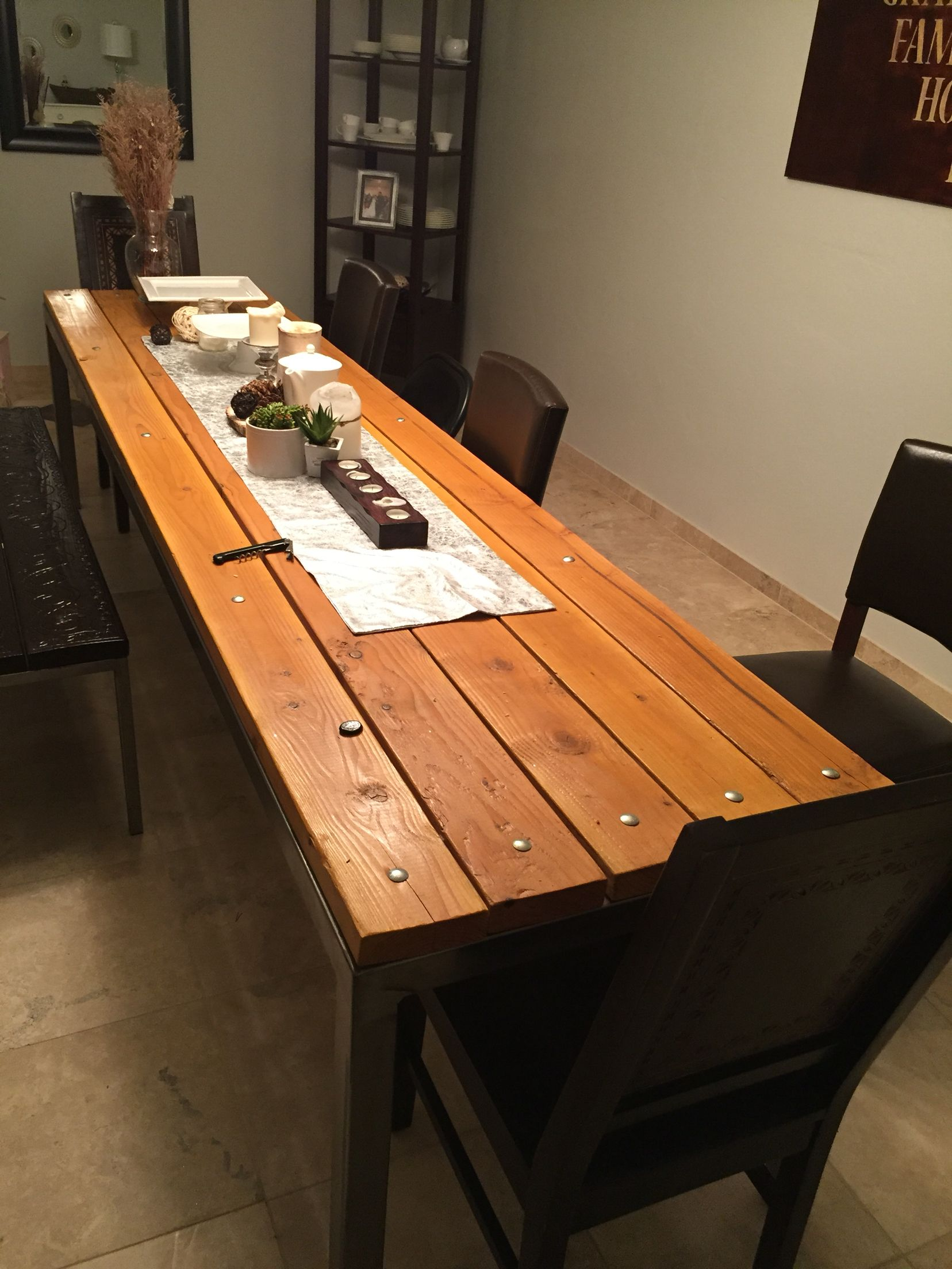Farmhouse dining table wood top, metal legs, carriage