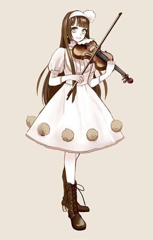 Garota Anime Tocando Violino Fofa Garotas