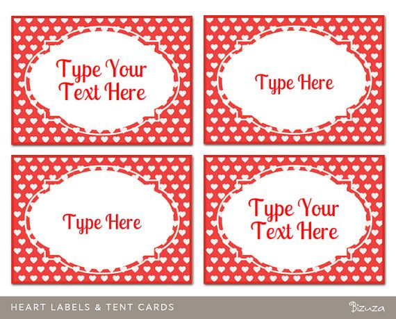 Custom Labels Tent Place Cards Heart Design Printable And Editable Pdf Instant Download Valentines Printables Free Custom Valentine Printable Designs