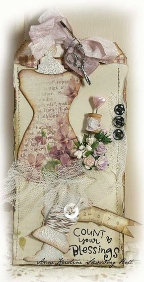 Sewing tag with Tim Holtz dress form die