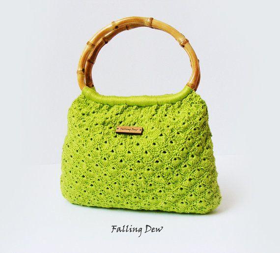 Crochet Handbag Lime Purse Small By Fallingdew