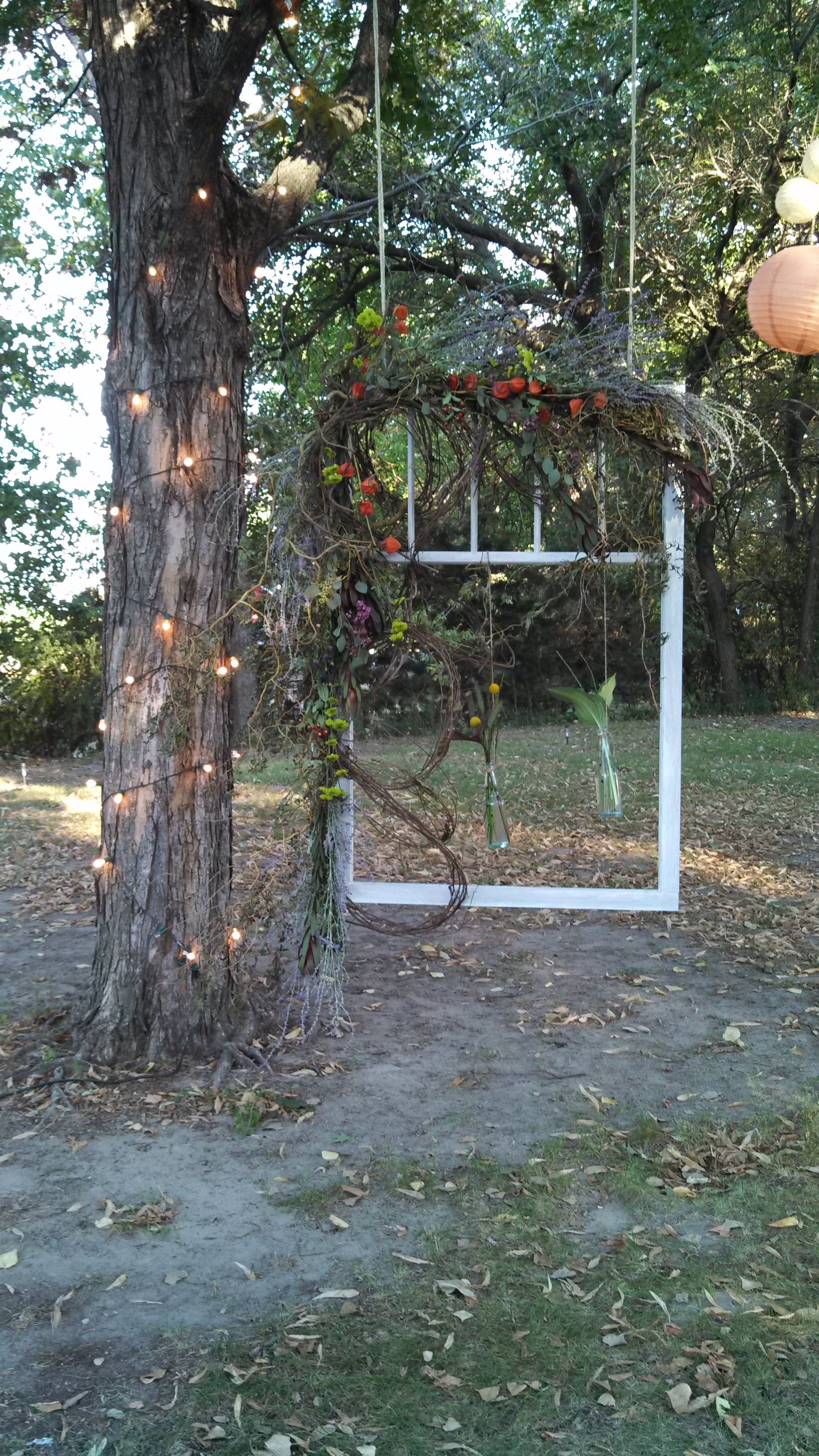 Emily\'s outdoor wedding had this beautiful suspended window frame as ...