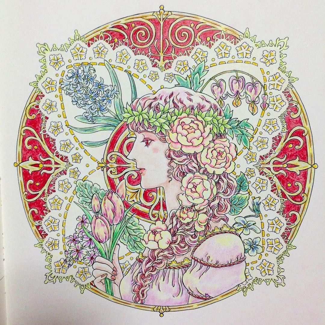春の女神春といえばピンクマンダラコロリアージュ 大人の塗り絵
