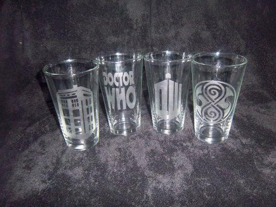 Set of 4 Dr Who Glasses, Tardis, Logo and Seal of Rassilon