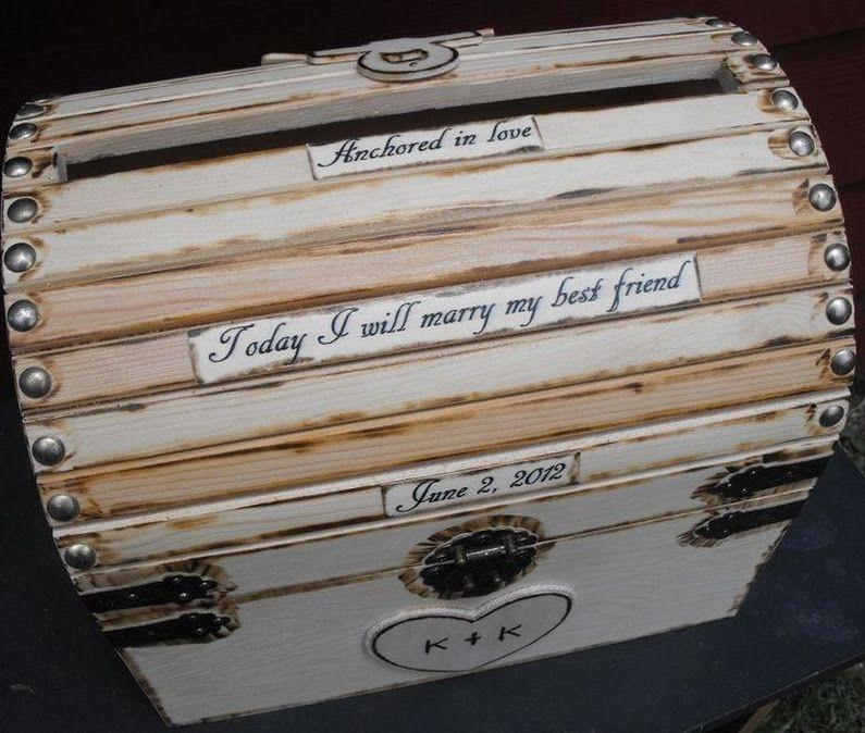 Large Nautical Themed Wedding Card Money Box With CARD SLOT With – Large Wedding Card Box