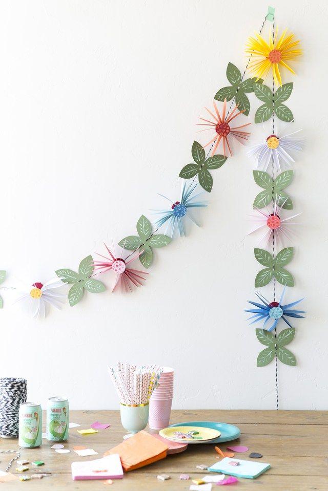 Diy paper flower garland diy paper flowers garland the party ville paper flower garland pinterest guirnaldas papel y flores mightylinksfo