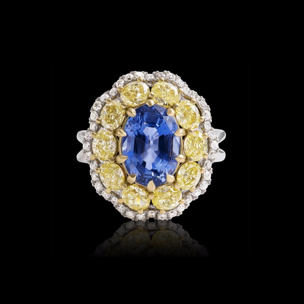 Pop Perfect Ring Diamontrigue Jewelry: Unheated Sri Lankan Sapphire And Fancy Yellow Diamond Ring