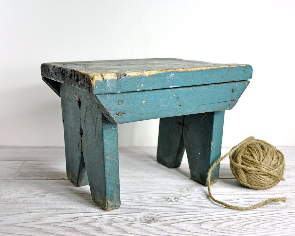 Reserved Vintage Primitive Painted Wood Stool Baby