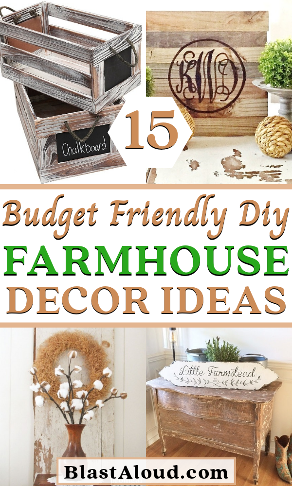 15 Gorgeous DIY farmhouse decor ideas you can do on a tight budget. Including farmhouse living room, farmhouse bathroom and farmhouse kitchen decor diy projects! These rustic farmhouse decor projects are perfect for your country chic cottage. Even Chip and Joanna Gaines would love these farmhouse DIY projects! #farmhouse #decor #diy #farmhousedecor #farmhouseDIY #DIYFarmhouseProjects