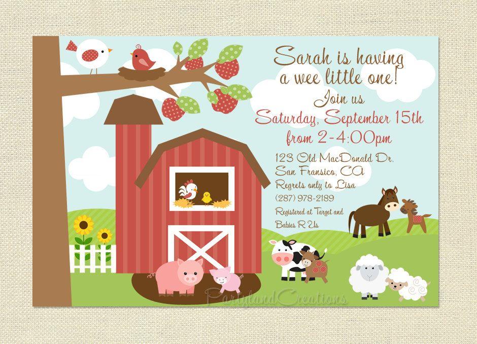 Amazing Farm Animal Baby Shower Invitations Photos - Invitation Card ...