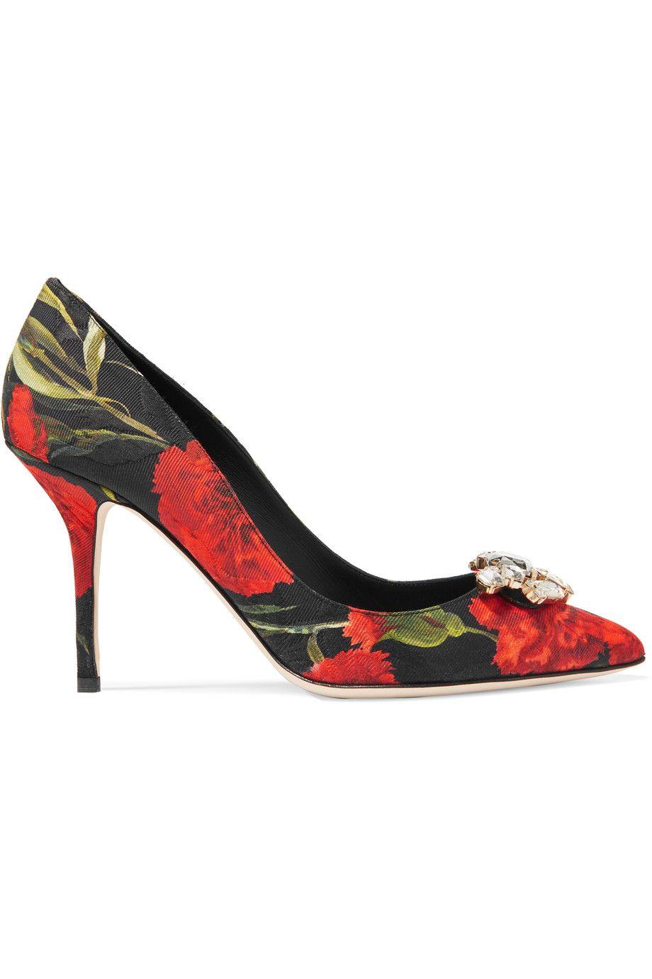 Dolce & GabbanaEmbellished floral-jacquard pumps