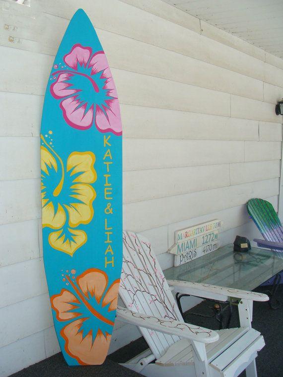6 Foot Wood Hawaiian Surfboard Wall Art Decor Or Headboard Kids Room Sign